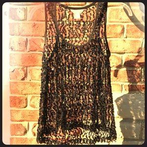 Fun &a Flirt black sheer sequin tank top!